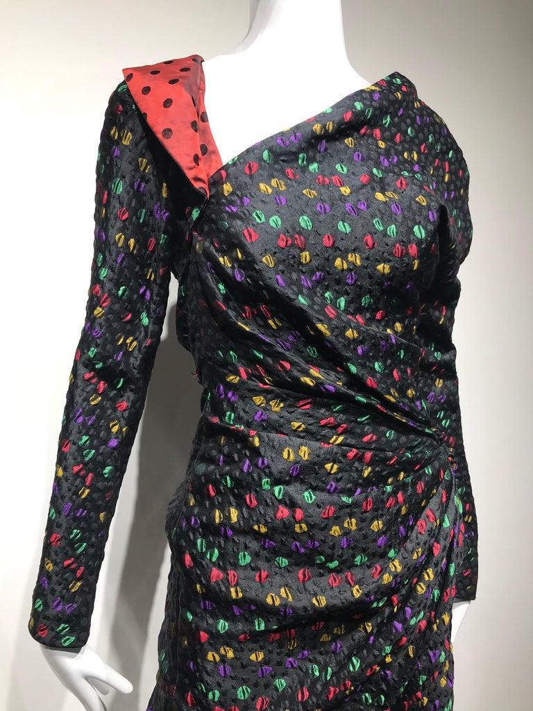 Givenchy Haute Couture Black Multi Color Dots Vintage Silk Dress For Sale 9