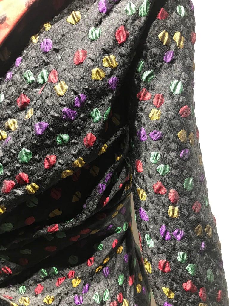 Givenchy Haute Couture Black Multi Color Dots Vintage Silk Dress For Sale 10