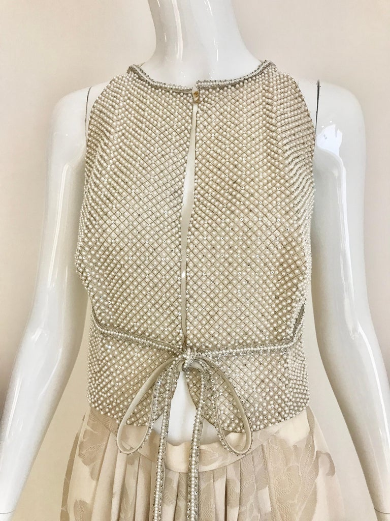 Women's Giorgio Armani 3 piece Beaded Top and Pearl Vest with Silk Jacquard Pant, 1990s For Sale