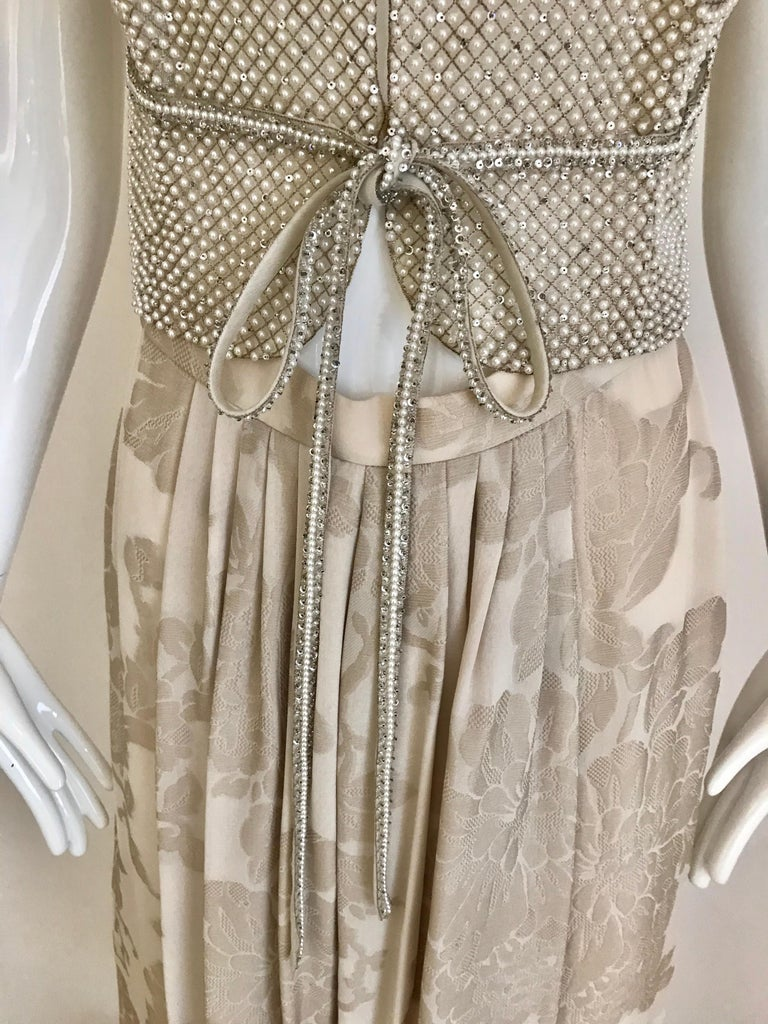 Giorgio Armani 3 piece Beaded Top and Pearl Vest with Silk Jacquard Pant, 1990s For Sale 2