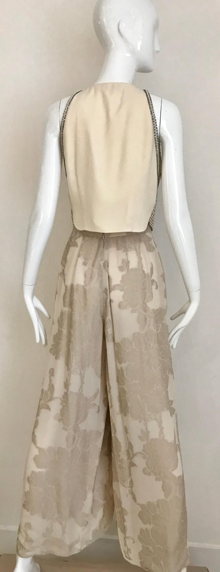 Giorgio Armani 3 piece Beaded Top and Pearl Vest with Silk Jacquard Pant, 1990s For Sale 4