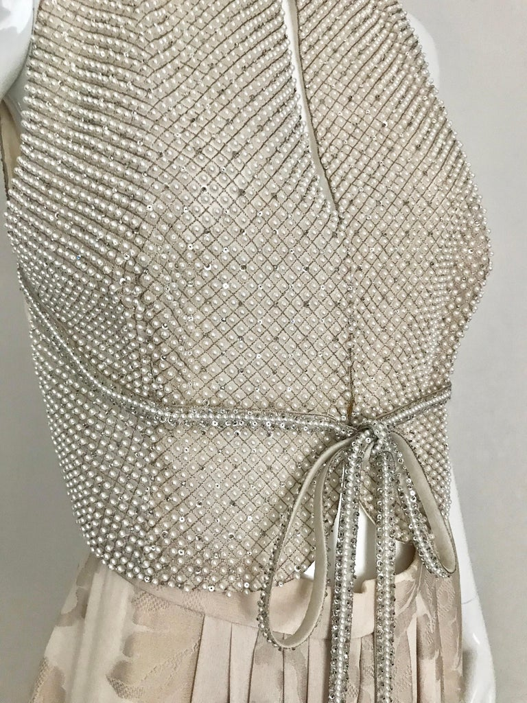 Giorgio Armani 3 piece Beaded Top and Pearl Vest with Silk Jacquard Pant, 1990s For Sale 5