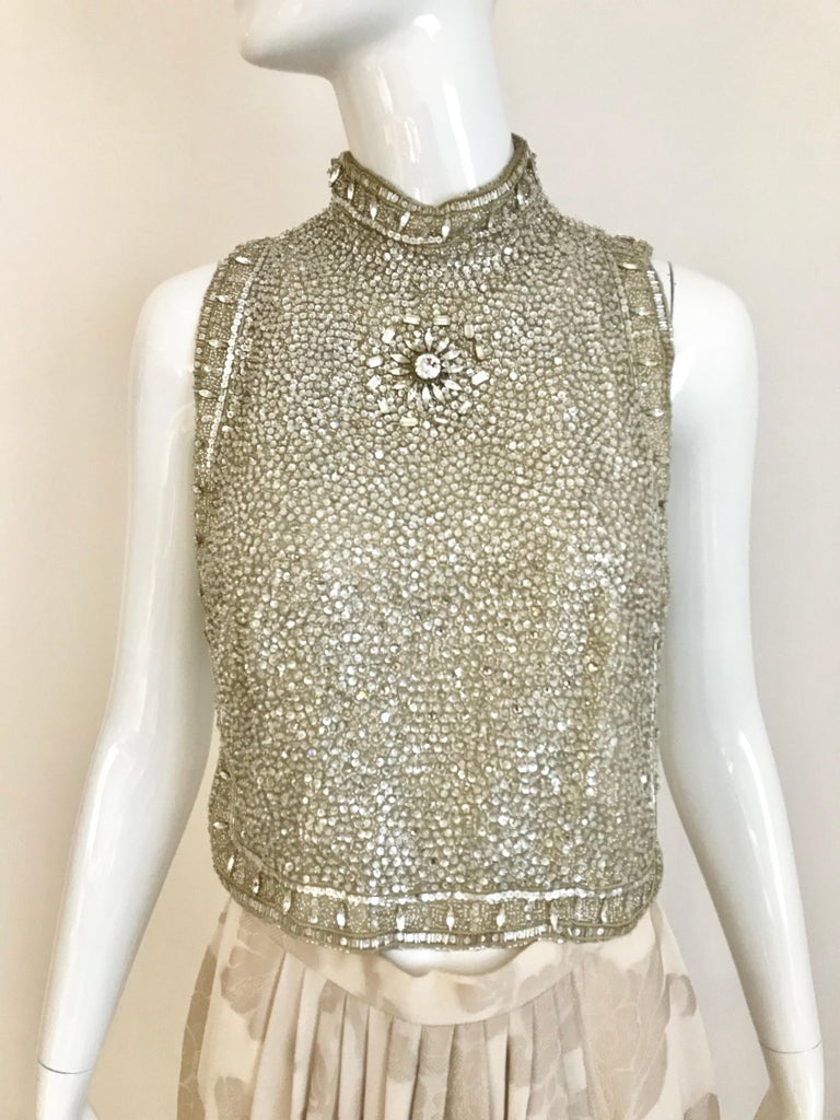 Giorgio Armani 3 piece Beaded Top and Pearl Vest with Silk Jacquard Pant, 1990s In Excellent Condition For Sale In Beverly Hills, CA