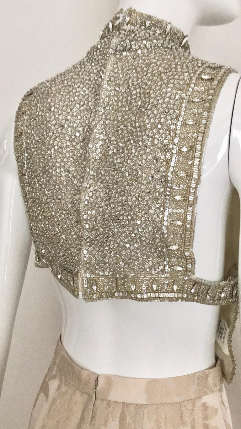 Giorgio Armani 3 piece Beaded Top and Pearl Vest with Silk Jacquard Pant, 1990s For Sale 8