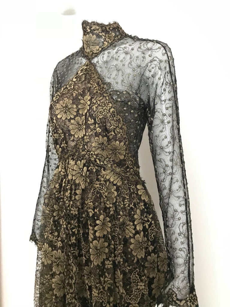 Women's Geoffrey Beene Vintage Gold And Black Metallic Lace Dress  For Sale