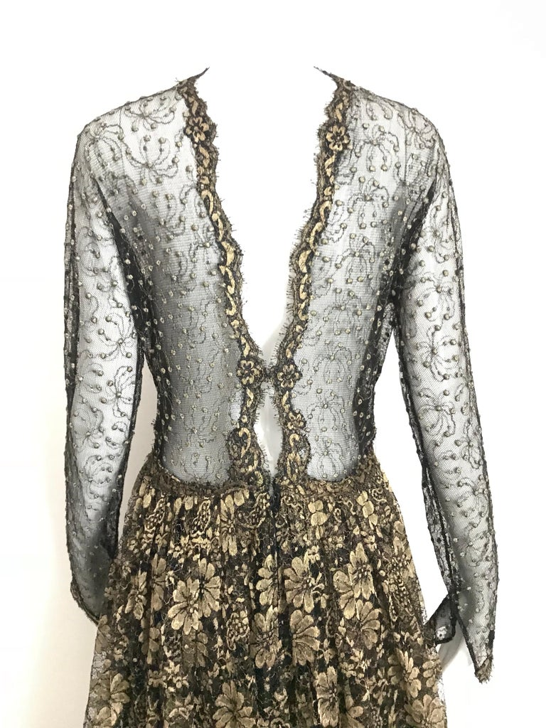 Geoffrey Beene Vintage Gold And Black Metallic Lace Dress  For Sale 3