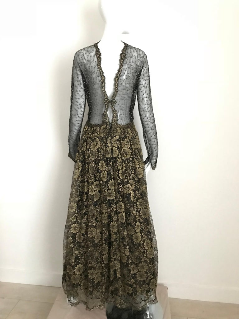 Geoffrey Beene Vintage Gold And Black Metallic Lace Dress  For Sale 4