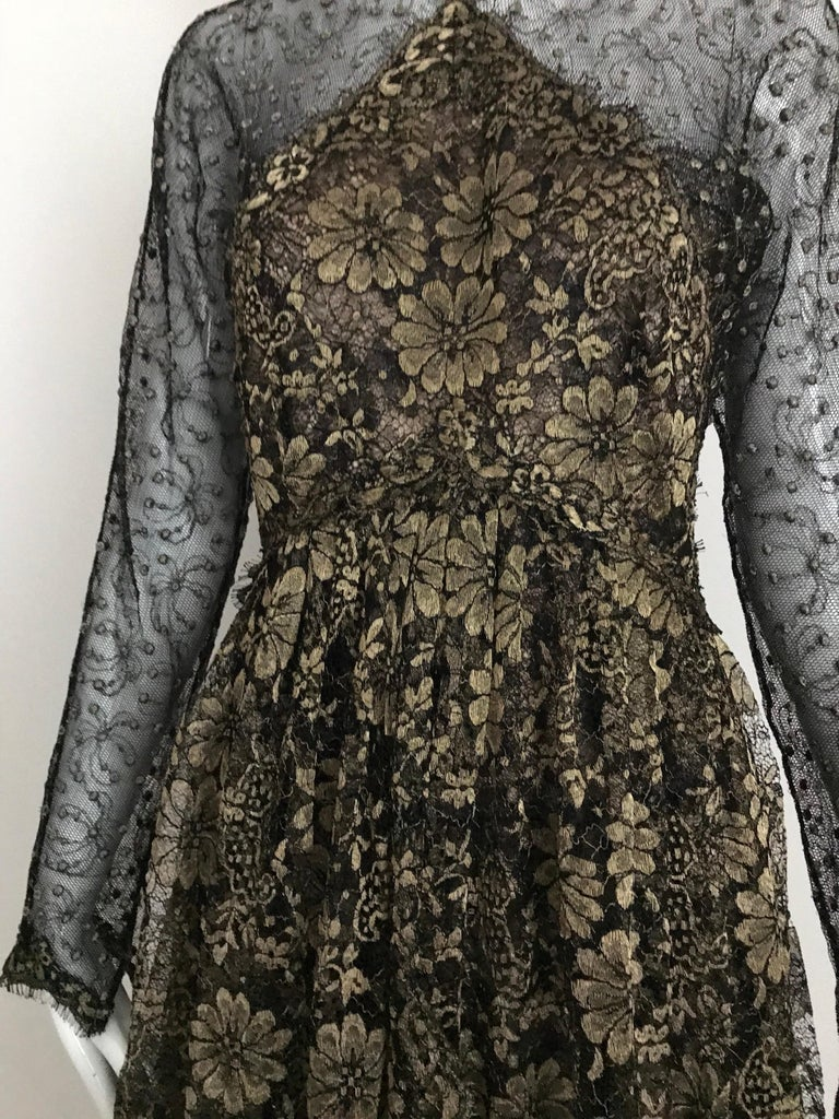 Geoffrey Beene Vintage Gold And Black Metallic Lace Dress  For Sale 5