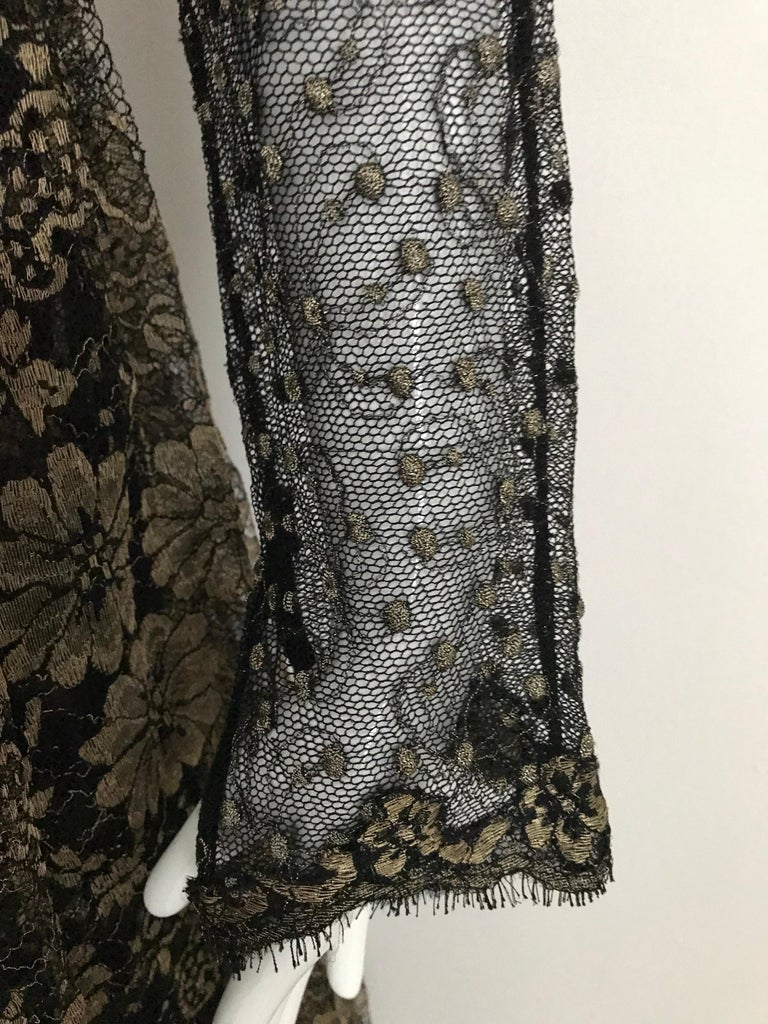 Geoffrey Beene Vintage Gold And Black Metallic Lace Dress  For Sale 6