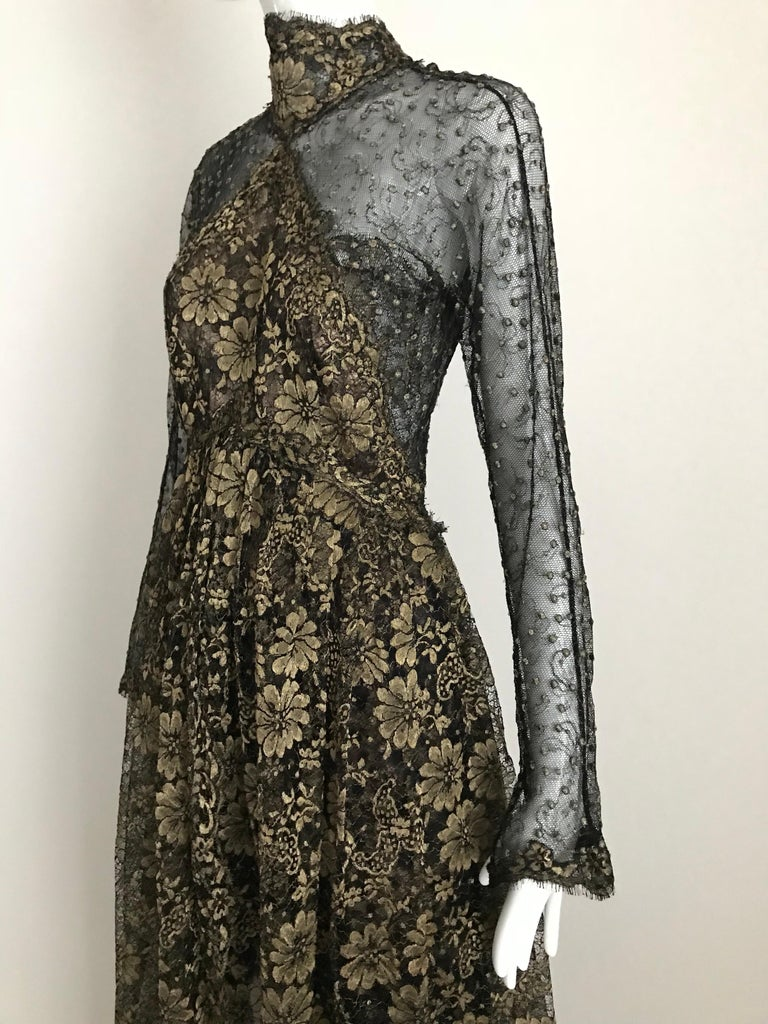 Geoffrey Beene Vintage Gold And Black Metallic Lace Dress  For Sale 7