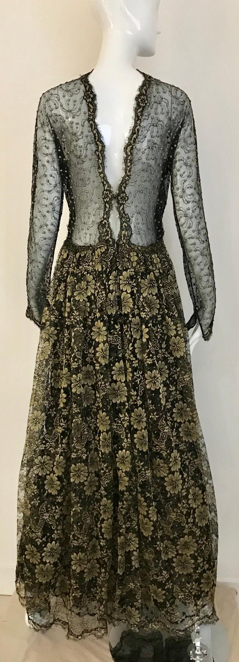 Geoffrey Beene Vintage Gold And Black Metallic Lace Dress  For Sale 8