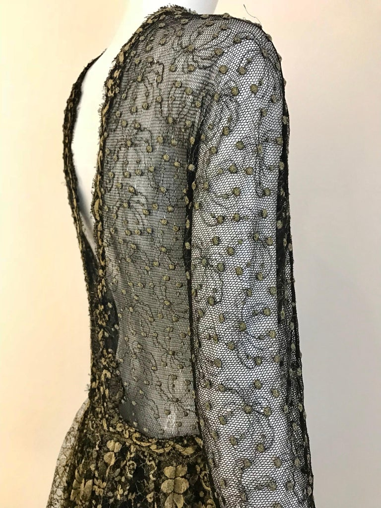 Geoffrey Beene Vintage Gold And Black Metallic Lace Dress  For Sale 9