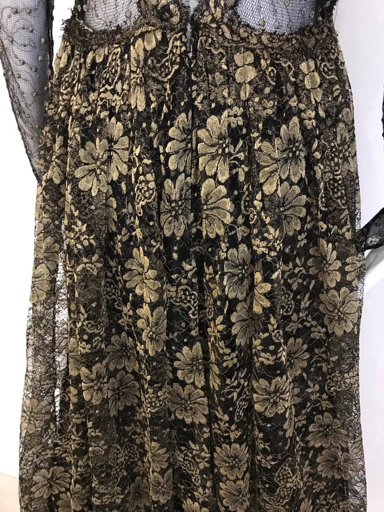 Geoffrey Beene Vintage Gold And Black Metallic Lace Dress  For Sale 10