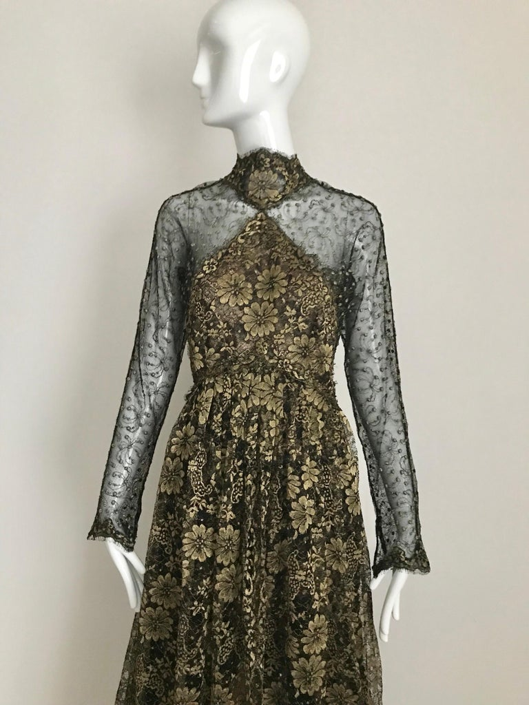 Brown Geoffrey Beene Vintage Gold And Black Metallic Lace Dress  For Sale