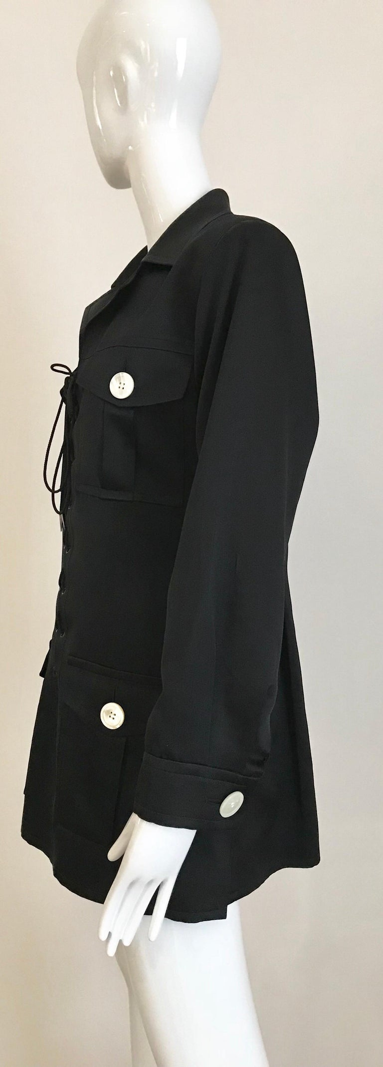 1990s Yves Saint Laurent YSL Black Safari Suit Sets For Sale 1