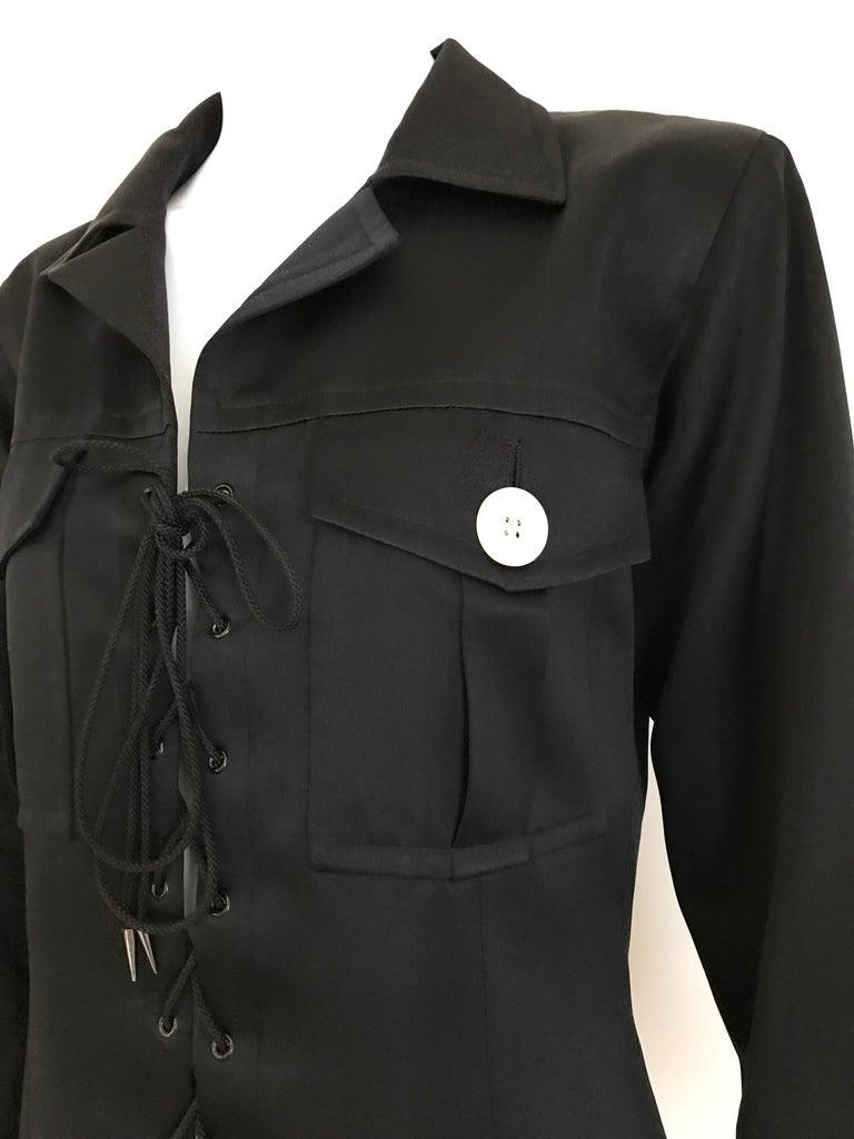 1990s Yves Saint Laurent YSL Black Safari Suit Sets For Sale 2