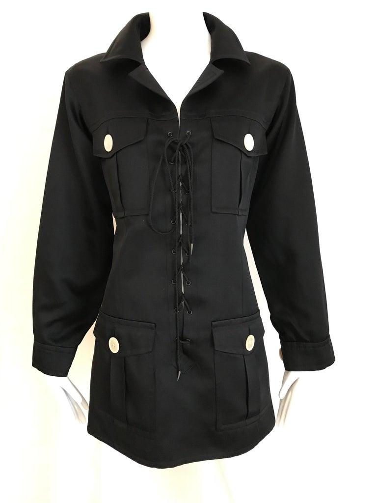 1990s Yves Saint Laurent YSL Black Safari Suit Sets For Sale 3