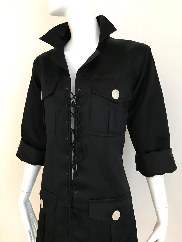 1990s Yves Saint Laurent YSL Black Safari Suit Sets For Sale 4