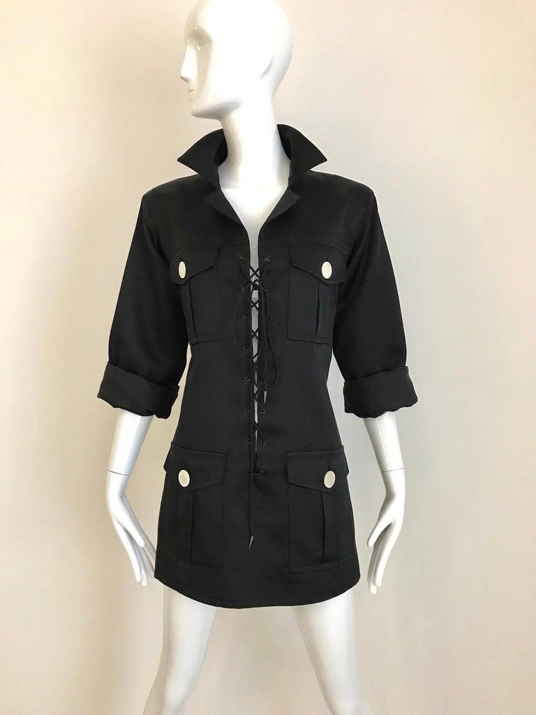 1990s Yves Saint Laurent YSL Black Safari Suit Sets For Sale 5