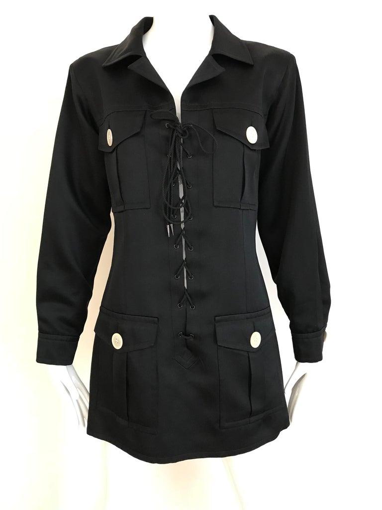 1990s Yves Saint Laurent YSL Black Safari Suit Sets For Sale 6