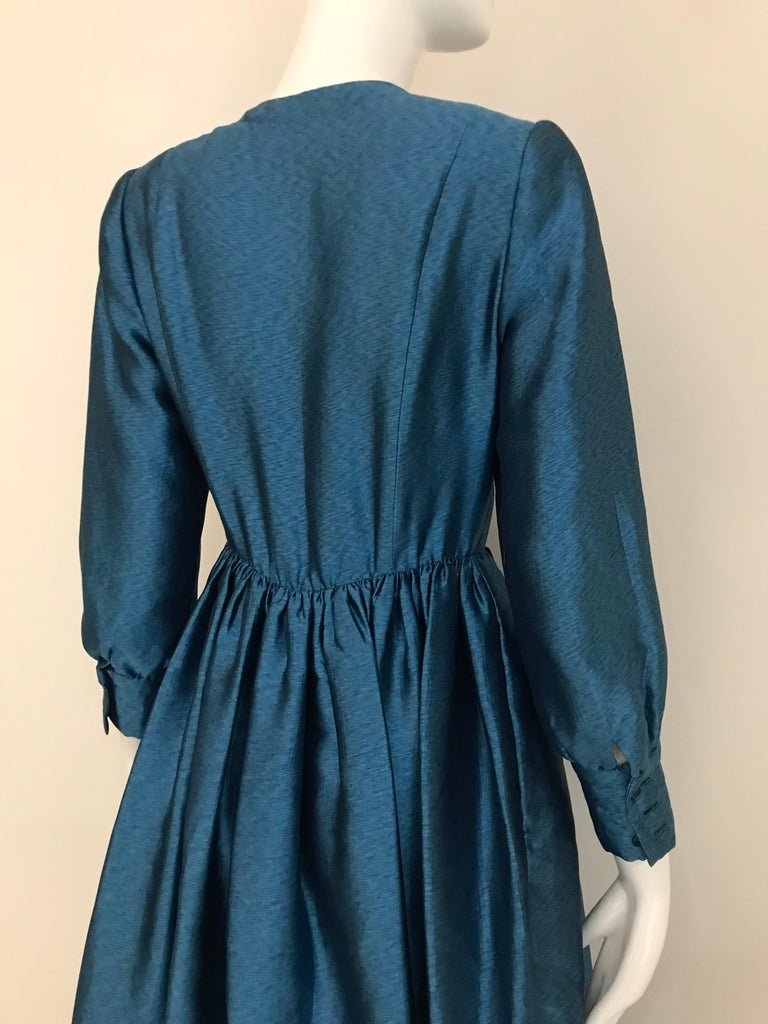 Women's Vintage Geoffrey Beene Teal Blue Silk Dress  For Sale