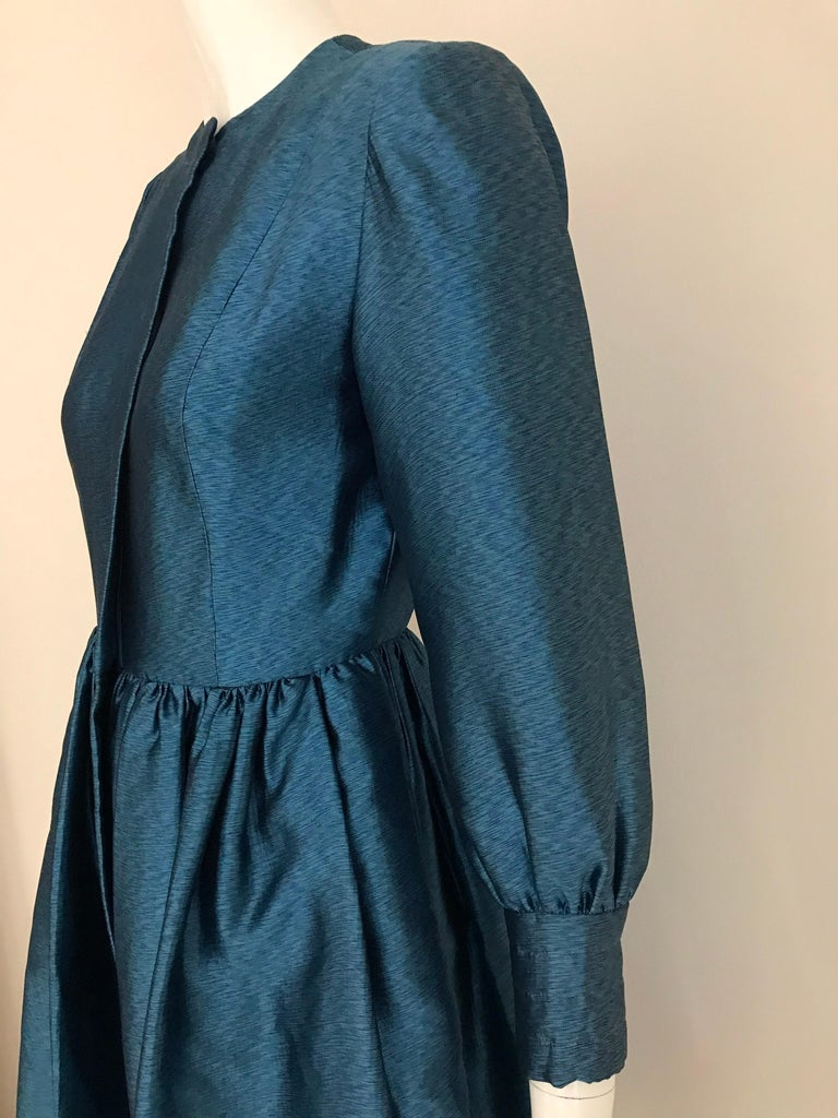 Vintage Geoffrey Beene Teal Blue Silk Dress  For Sale 1
