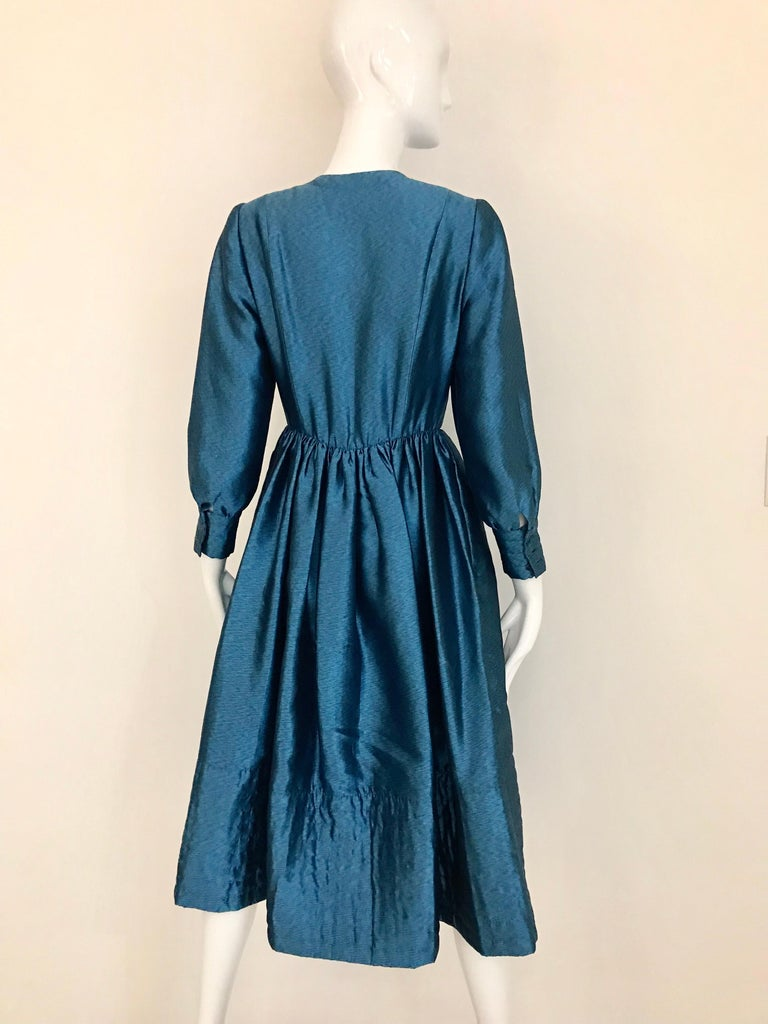 Vintage Geoffrey Beene Teal Blue Silk Dress  For Sale 4