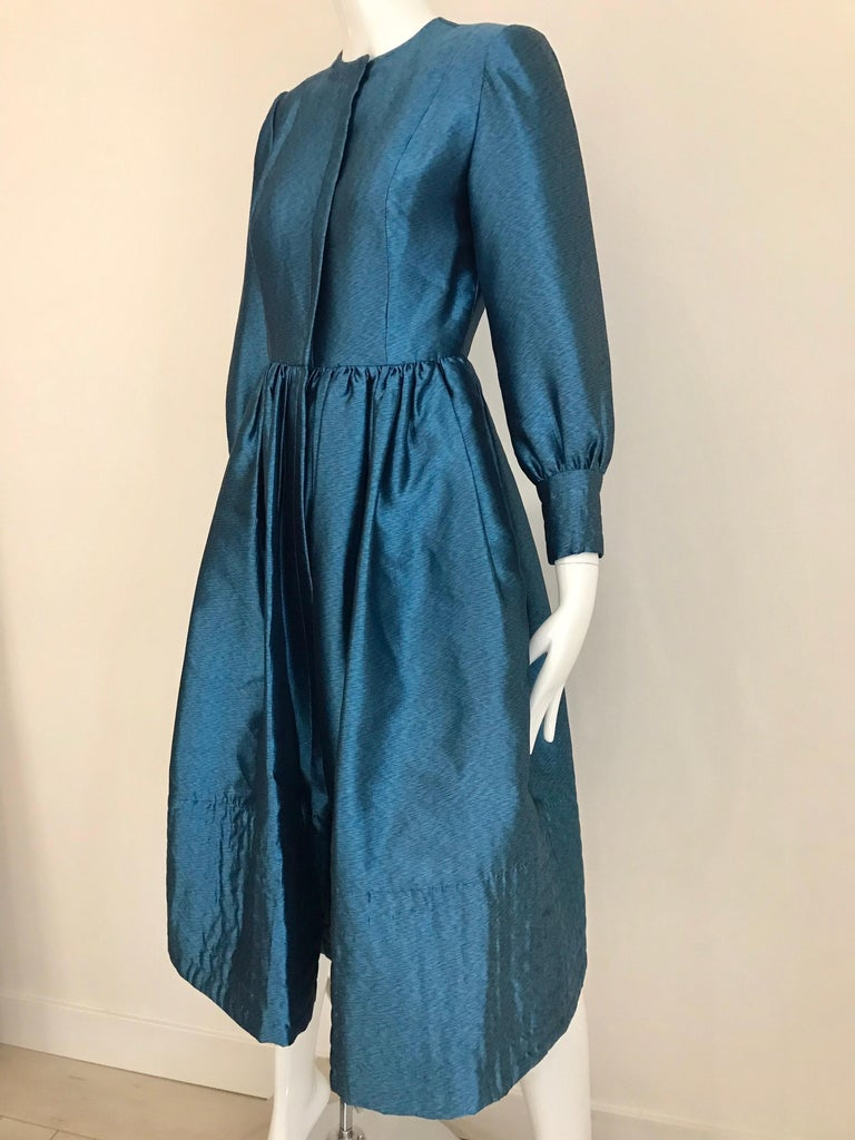 Vintage Geoffrey Beene Teal Blue Silk Dress  For Sale 5