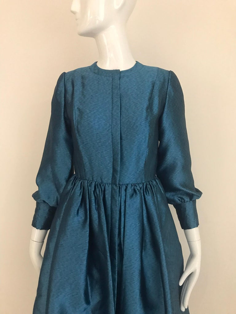 Vintage Geoffrey Beene Teal Blue Silk Dress  For Sale 6
