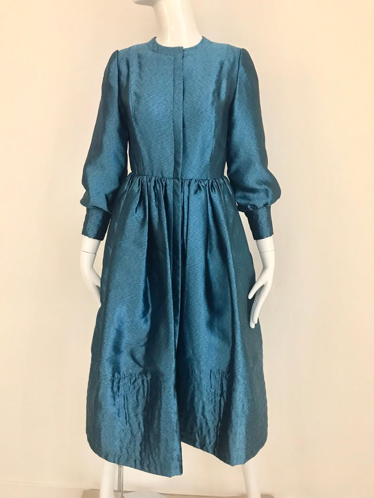 Vintage Geoffrey Beene Teal Blue Silk Dress  For Sale 7