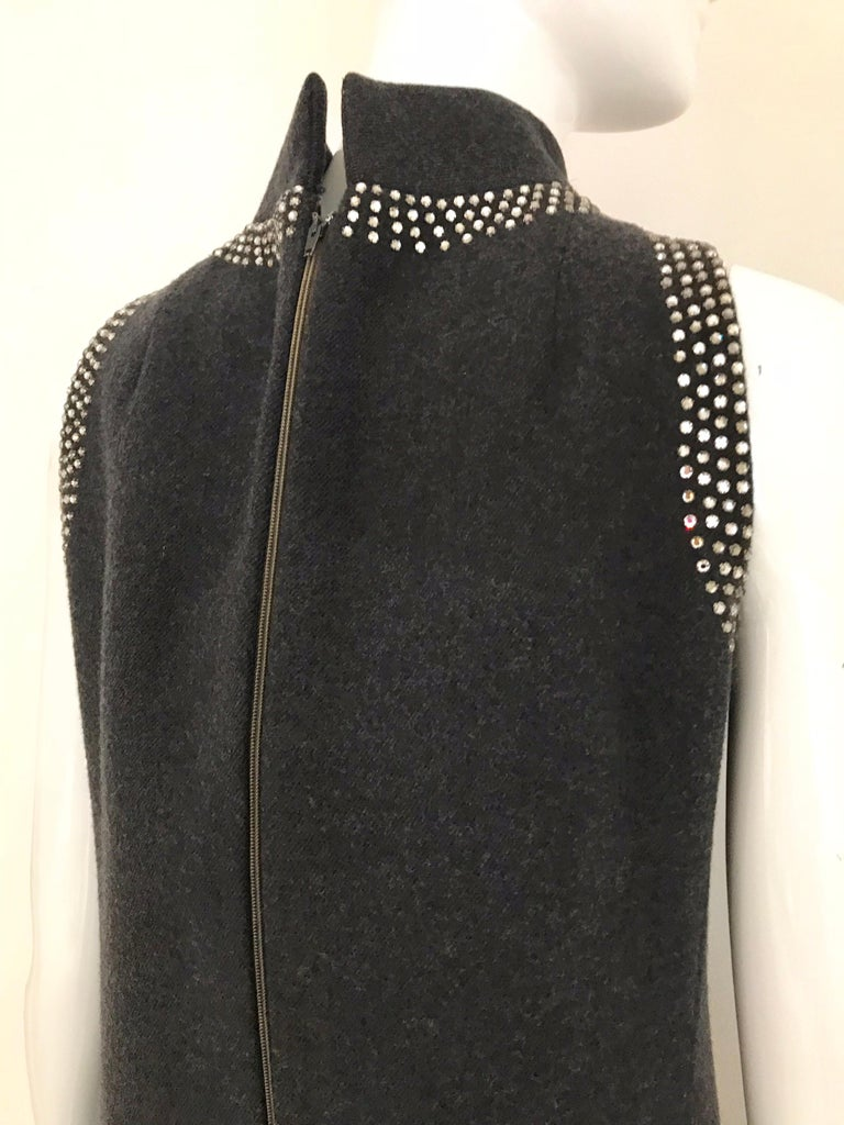 1960s Geoffrey Beene Grey Wool Shift Dress For Sale 4