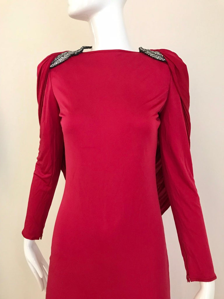 Women's Vintage Valentino Red Silk Jersey Open Back Dress For Sale