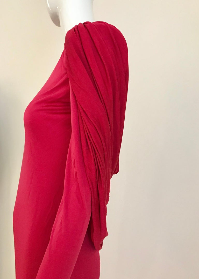 Vintage Valentino Red Silk Jersey Open Back Dress For Sale 1