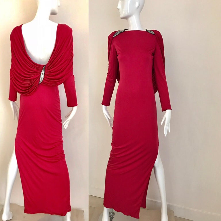 Vintage Valentino Red Silk Jersey Open Back Dress In Good Condition For Sale In Beverly Hills, CA