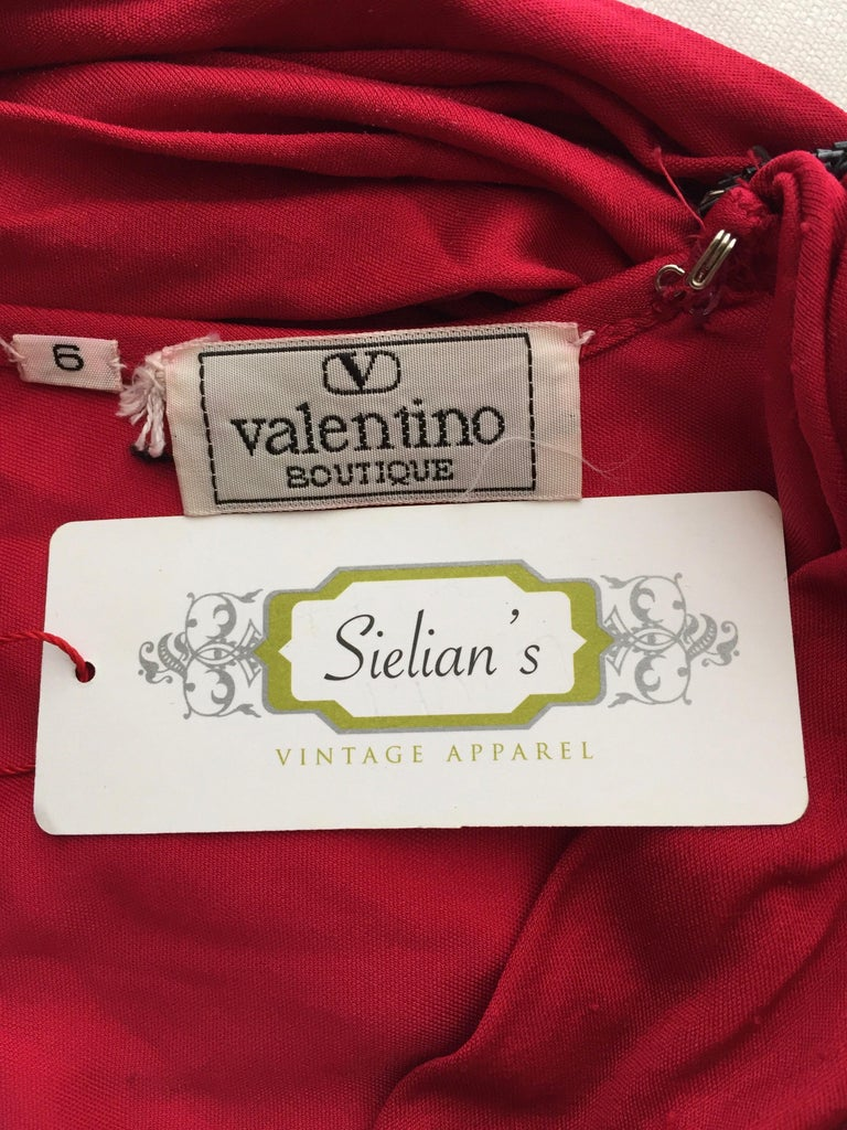 Vintage Valentino Red Silk Jersey Open Back Dress For Sale 2
