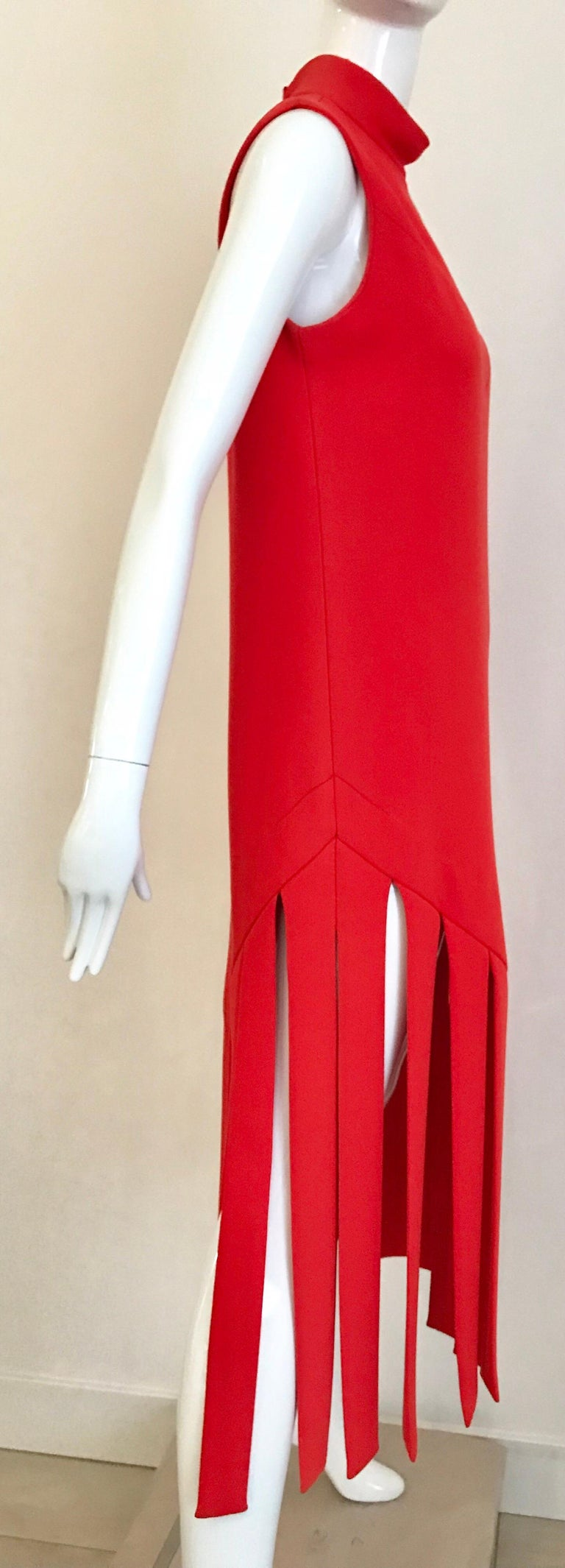 Red Vintage Pierre Cardin Sleeveless Crepe Dress  For Sale