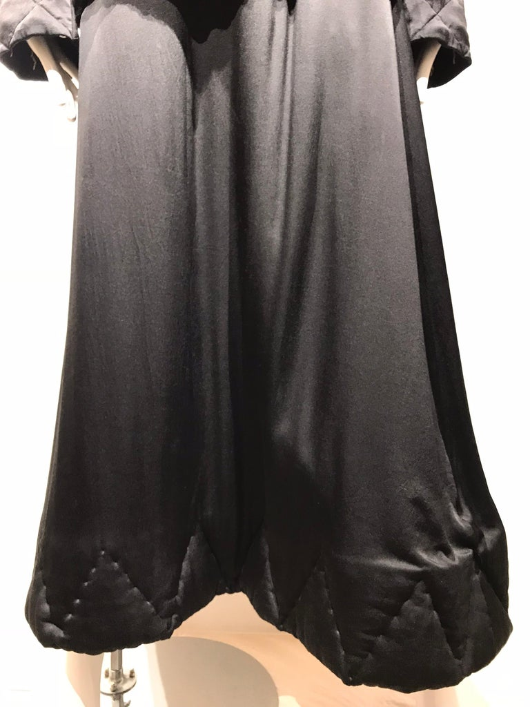 Yohji Yamamoto Black Long Sleeve Silk Quilted Jacket and Skirt Set In Good Condition For Sale In Beverly Hills, CA