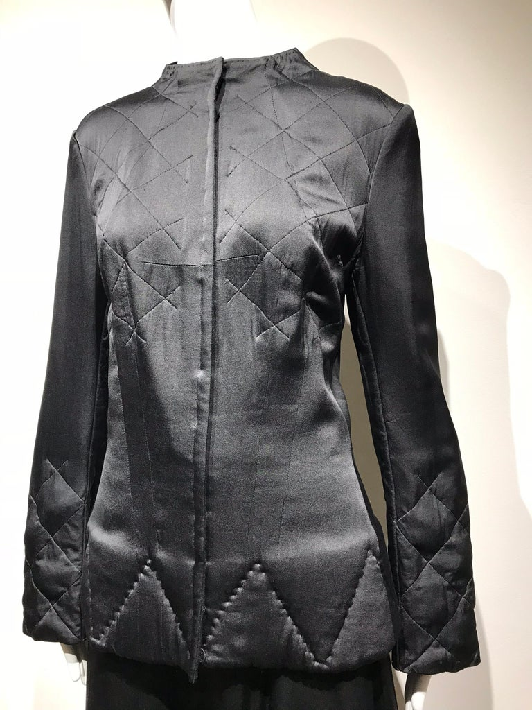 Women's Yohji Yamamoto Black Long Sleeve Silk Quilted Jacket and Skirt Set For Sale