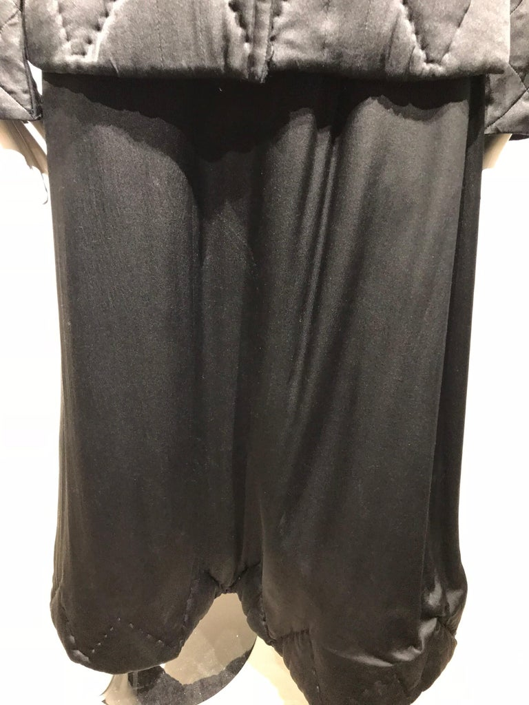 Yohji Yamamoto Black Long Sleeve Silk Quilted Jacket and Skirt Set For Sale 10