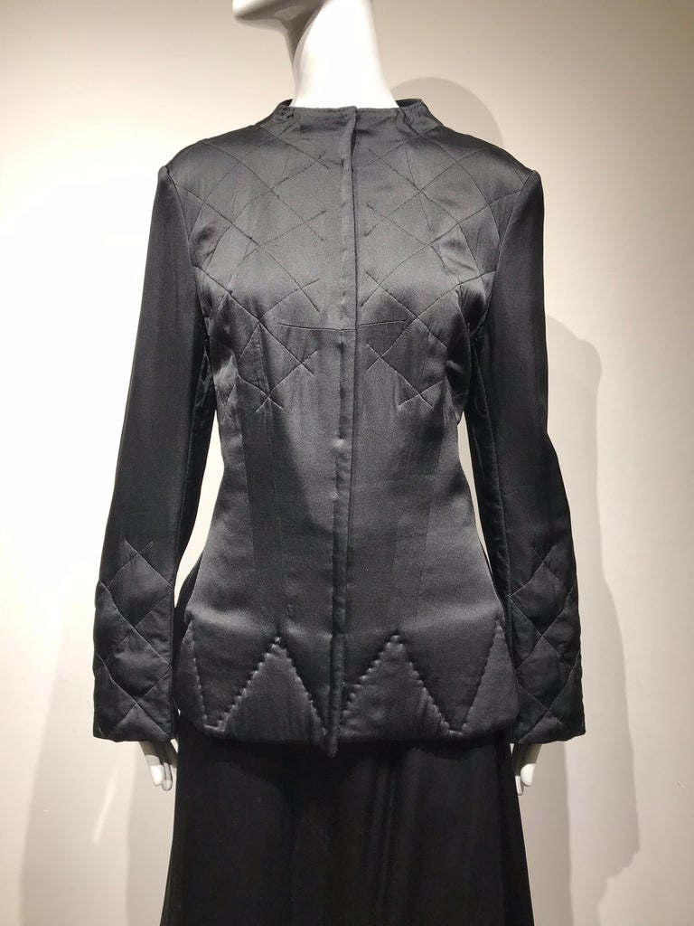 Yohji Yamamoto Black Long Sleeve Silk Quilted Jacket and Skirt Set For Sale 11