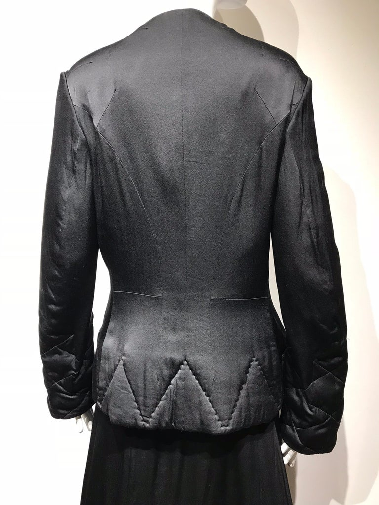 Yohji Yamamoto Black Long Sleeve Silk Quilted Jacket and Skirt Set For Sale 4