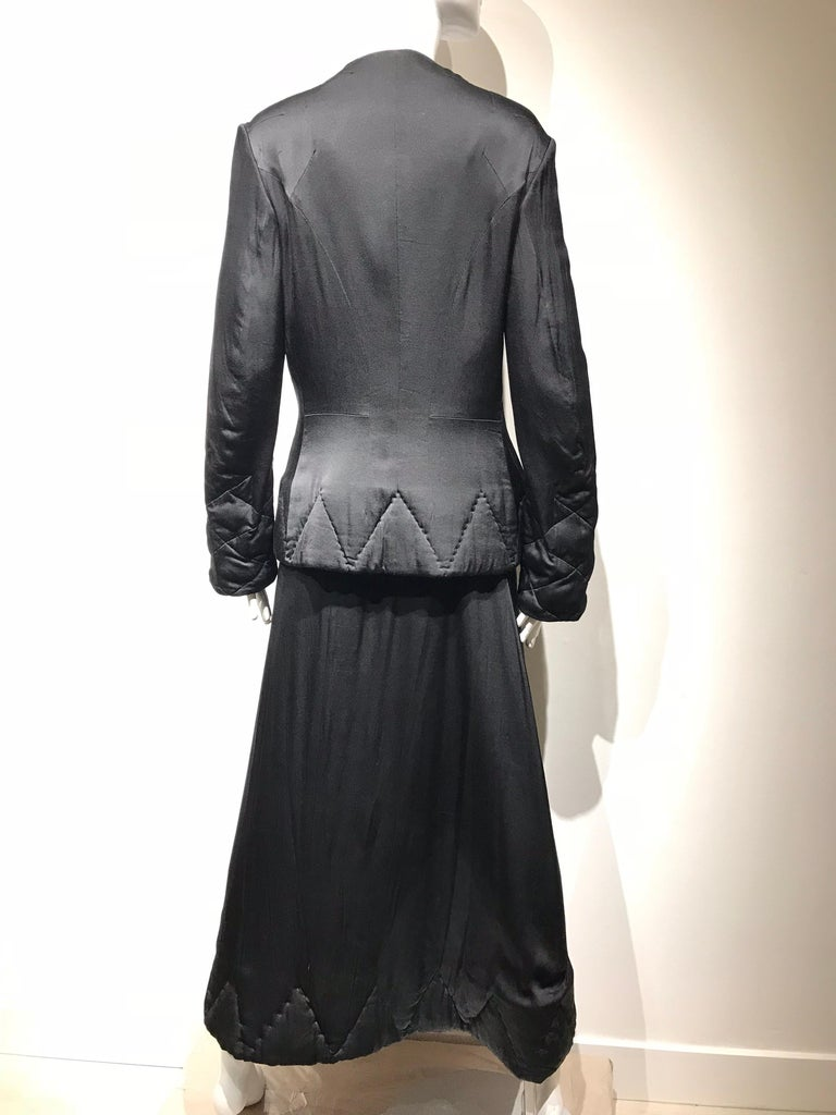 Yohji Yamamoto Black Long Sleeve Silk Quilted Jacket and Skirt Set For Sale 5