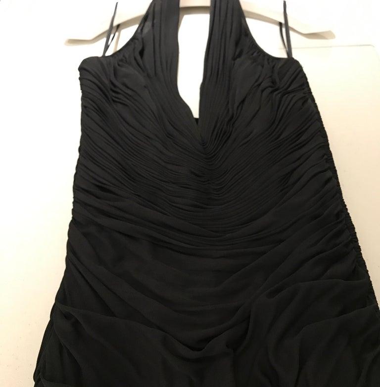 VICKY TIEL Black V Neck Jersey Halter Cocktail Mini Dress 1980s For Sale 3