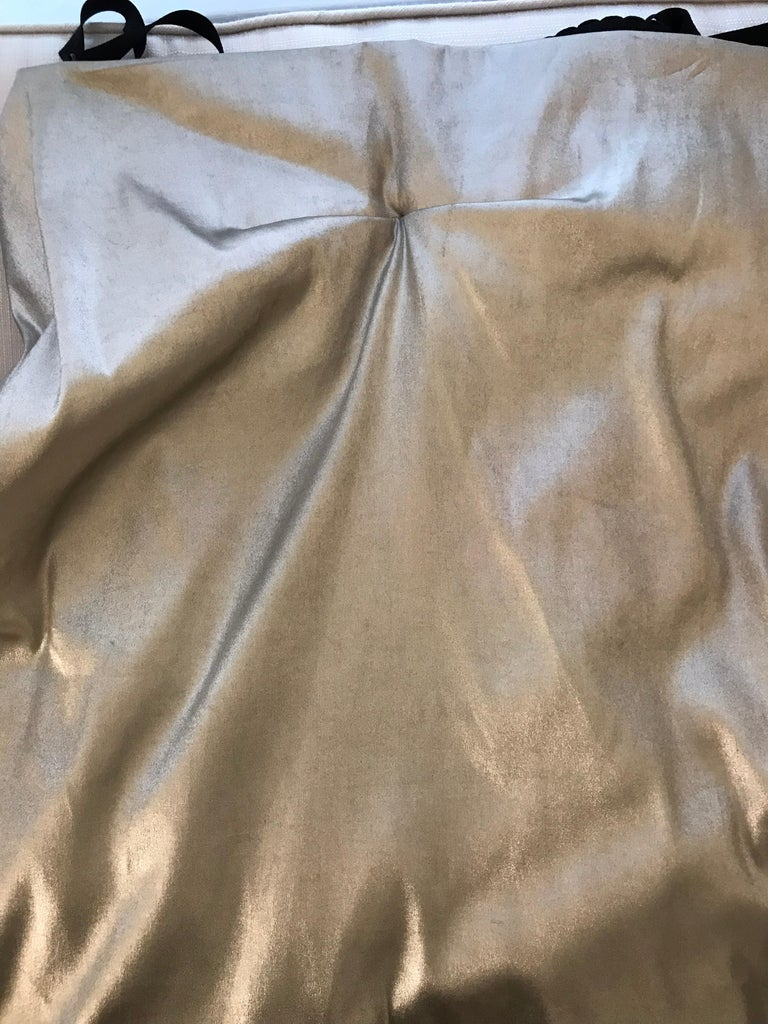 Silver Dolce & Gabbana silver metallic bustier top and skirt set, 1990s For Sale