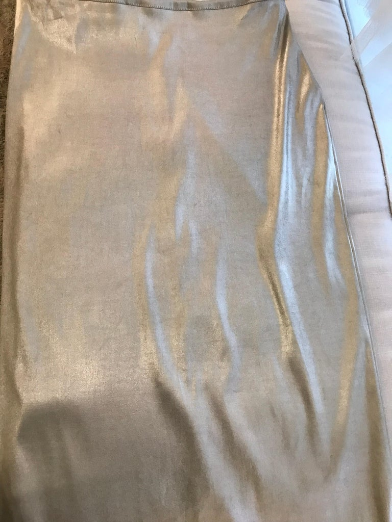 Dolce & Gabbana silver metallic bustier top and skirt set, 1990s For Sale 3