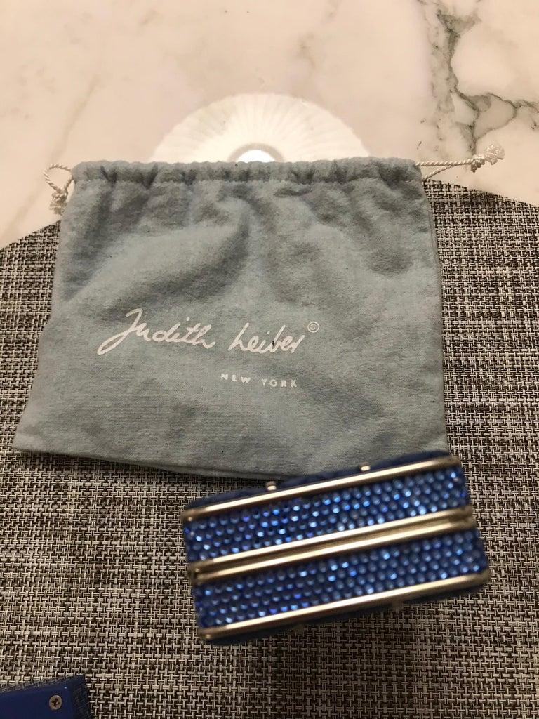 Judith Leiber blue satin evening clutch For Sale 2