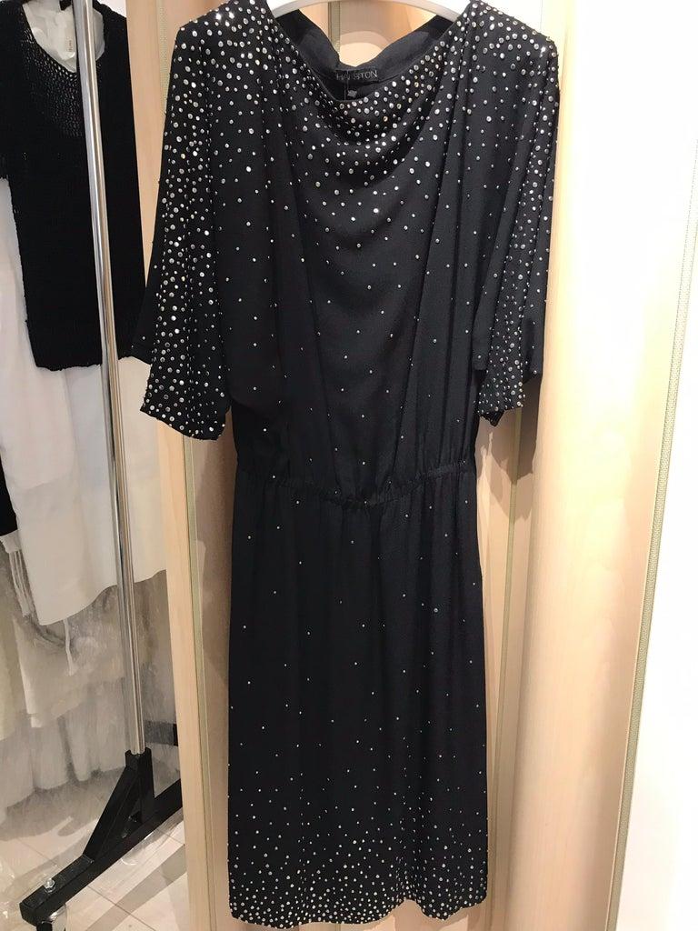 Vintage Halston  Black Crepe Studded Cocktail Dress For Sale 2