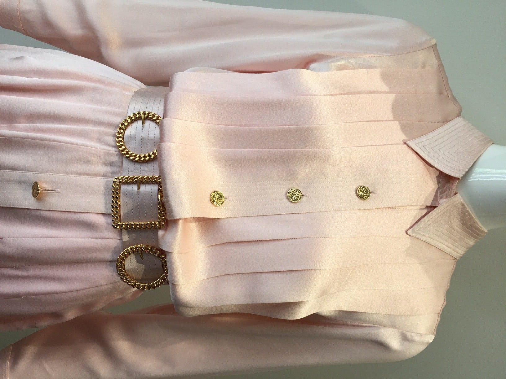 Lovely Pale Pink Silk Charmeuse shirt dress by Chanel.