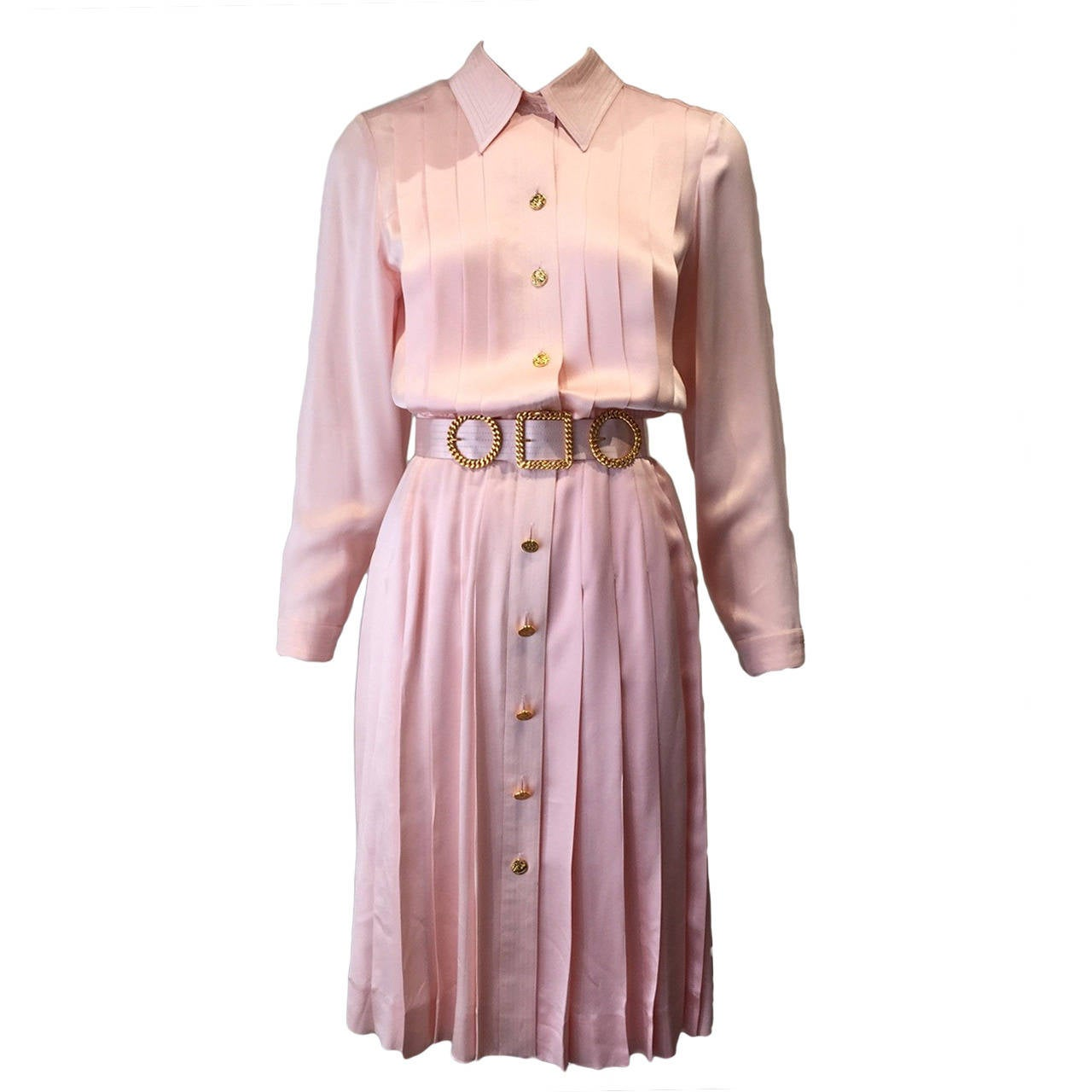 1980s Chanel Pink Silk  dress For Sale