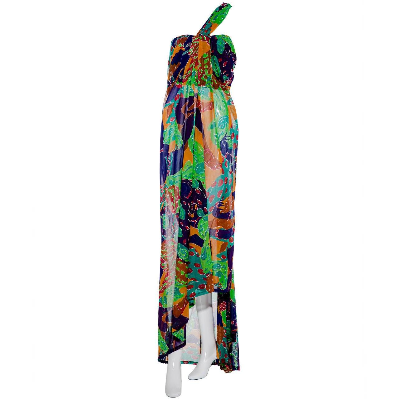 RARE 1990s Yves Saint Laurent Multi Color Cotton One Shoulder Dress Leon Bakst